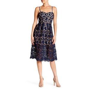 • Just Me Navy Blue Sweetheart Crochet Lace Dress